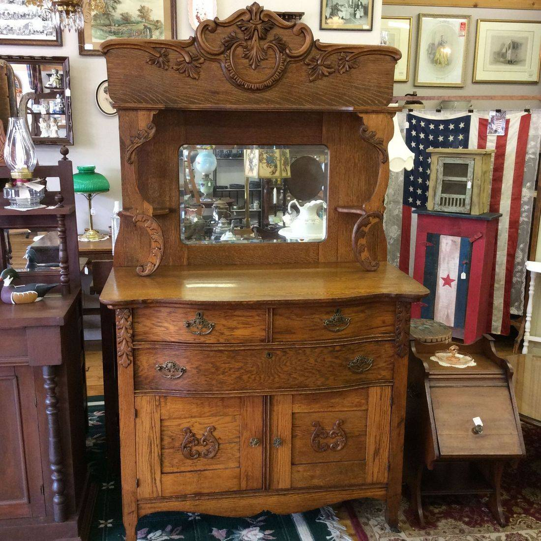 "C. 1890's / 1910 Intricate Oak Buffet  44-1/4""L x 23""D x 37-3/4""H ( 76-1/2"" top of mirror )   $385.00"
