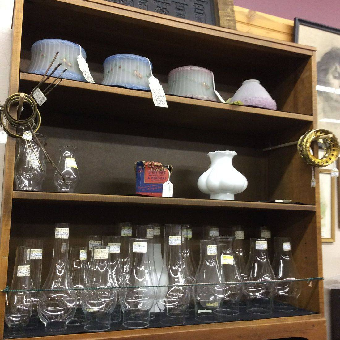 Various Electric and Oil Lamp Shades & Chimneys