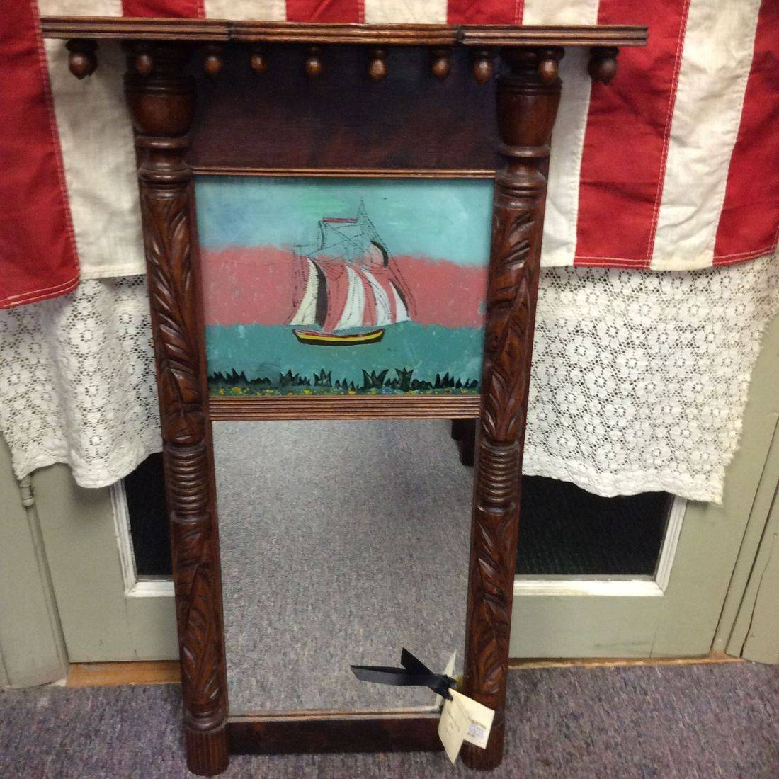 Early 1800's Federal 2-Part Mirror w/Reverse Painting of Ship   $185.00