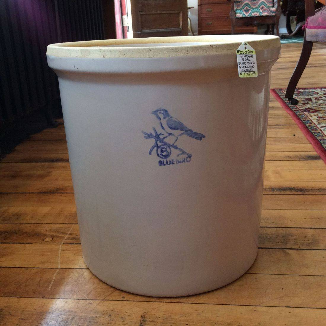 Vintage 5 Gal. Blue Bird Pickling Crock - No chips, No cracks - $175.00