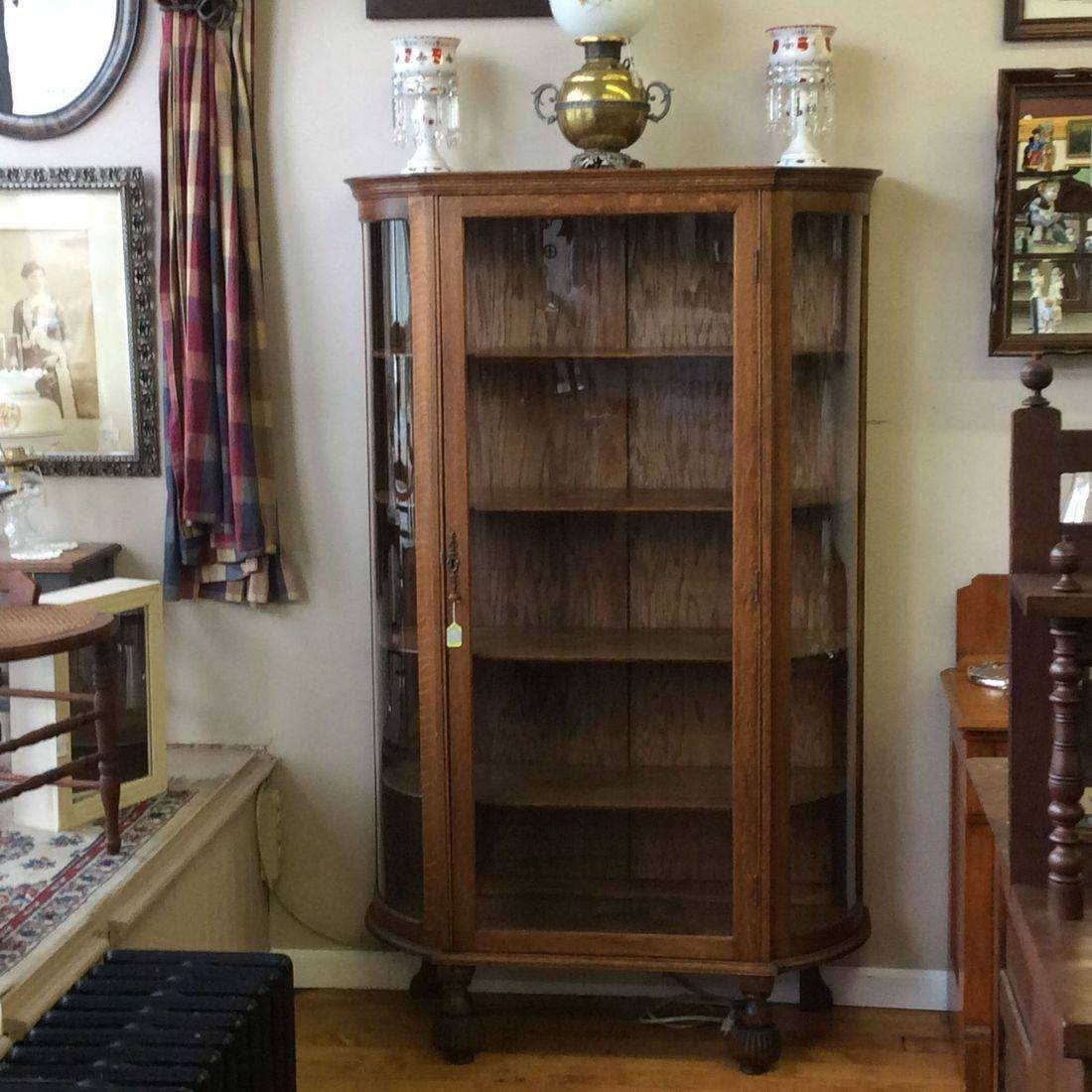 """Circa 1920's Oak Curved Side Glass, 4-Shelf China Cabinet  47""""W x 17""""D x 67""""H.  $350.00"""