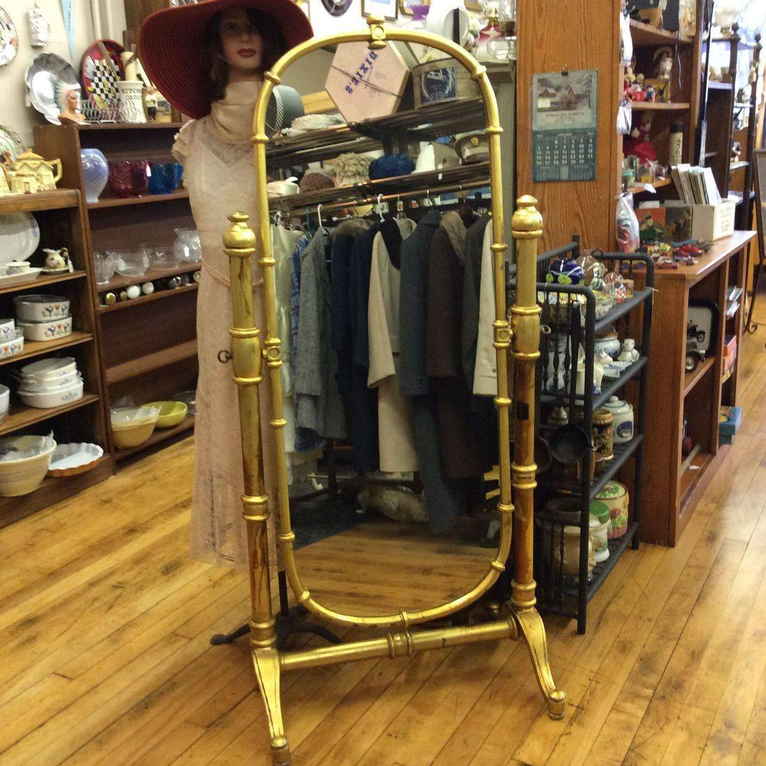 "Full-Length Industrial Dressing Mirror, Heavy Aluminum Frame and Stand. 64-1/2""H x 29""W x 19"" Stand Depth.  $225.00"
