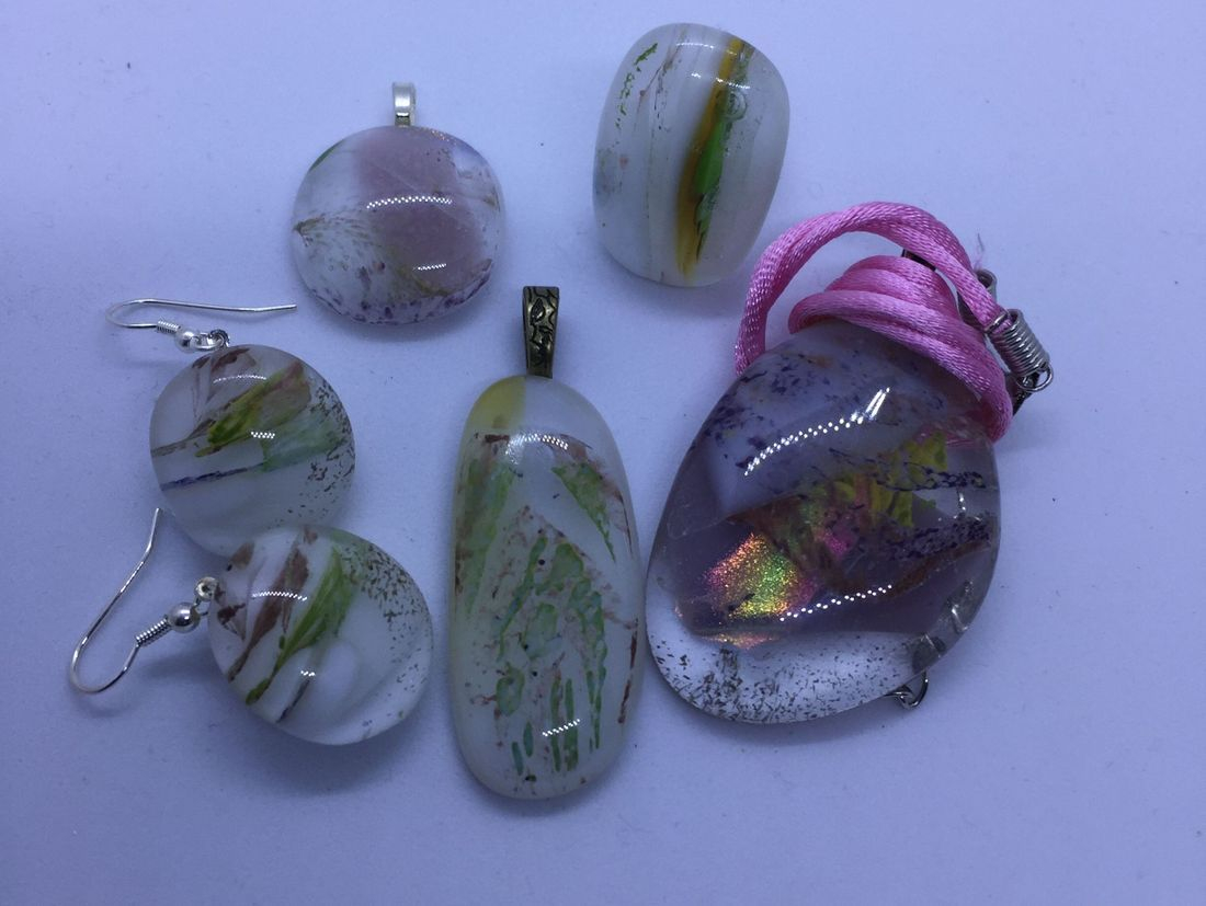 Small Fuished Glass Pendants