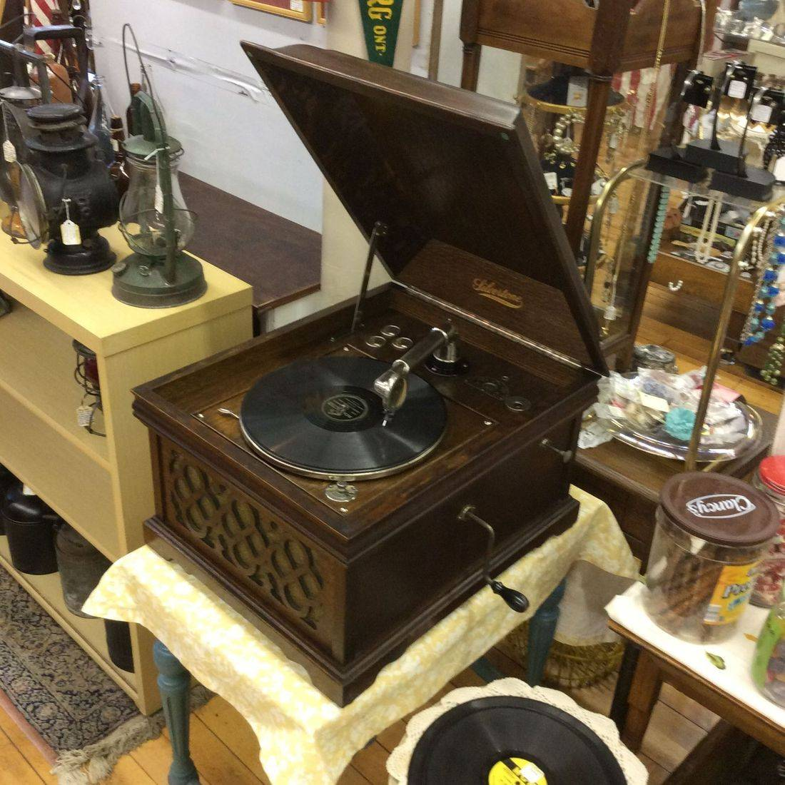 "Circa 1919/1920's Silvertone Phonograph, has type EE Motor ""Works Great""   18""W x 22""D x 15""H   $325.00"