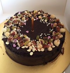 Green and Blacks lucious chocolate and nut cake