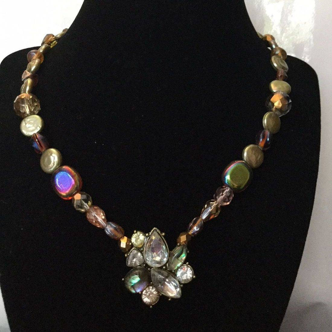 """18"""" Custom Handmade Flat Round 10MM Cultured Pearl, Necklace, Green/Gold, Iridescent, Lampwork Glass Beads, shell pendent accent, Necklace, womens, charity, girls, teens, jewelry"""