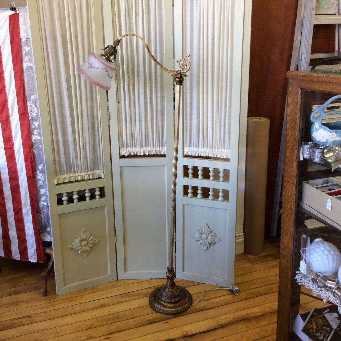 "C. 1920's/30's Brass & Iron Floral Bridge Lamp 56"" Hgt.   $130.00"