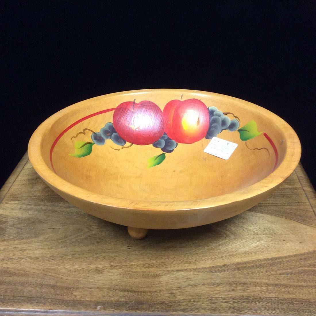 "Vintage Footed Wooden Bowl w/Fruit Design (semi-oval) 11-1/4"" X 10-1/2""d. X 3-1/2""h.  $17.00"