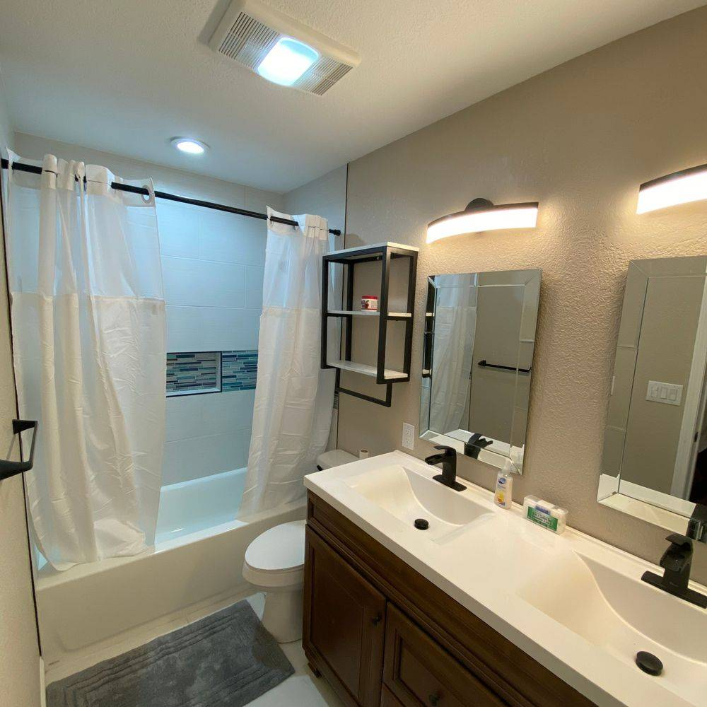 Complete bathroom remodeling, from tub to shower.