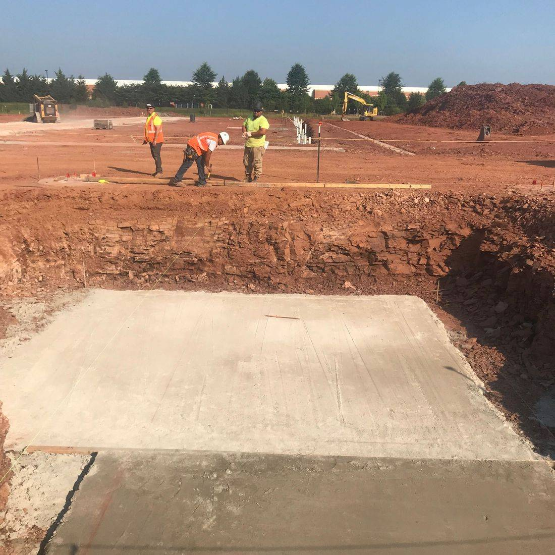 pouring concrete slabs and footings