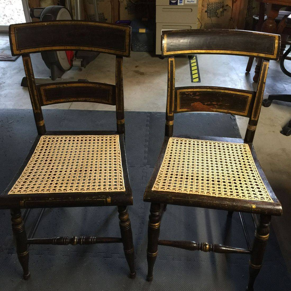 Antique Hitchcock chairs circa 1830 done by Hank's Cane  & Rush Restoration