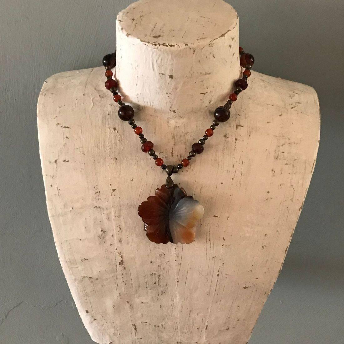 Carnelian flower beaded necklace
