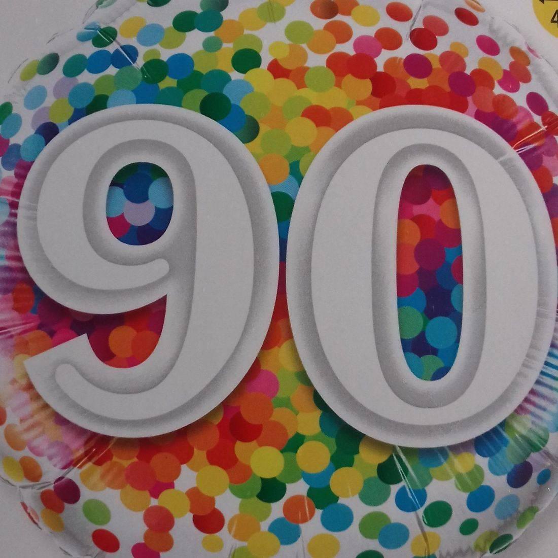 90th RAINBOW CONFETTI FOIL BALLOON