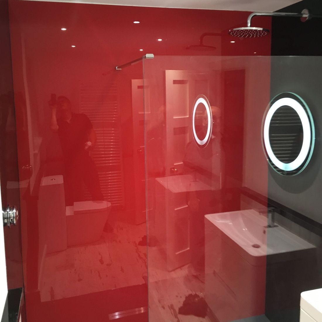 Shower Acrylic Boards Red Black