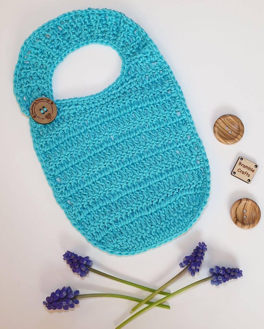 crochet bib, vegan gift, vegan crochet, newborn gift, handmade gift, Bramble Crafts