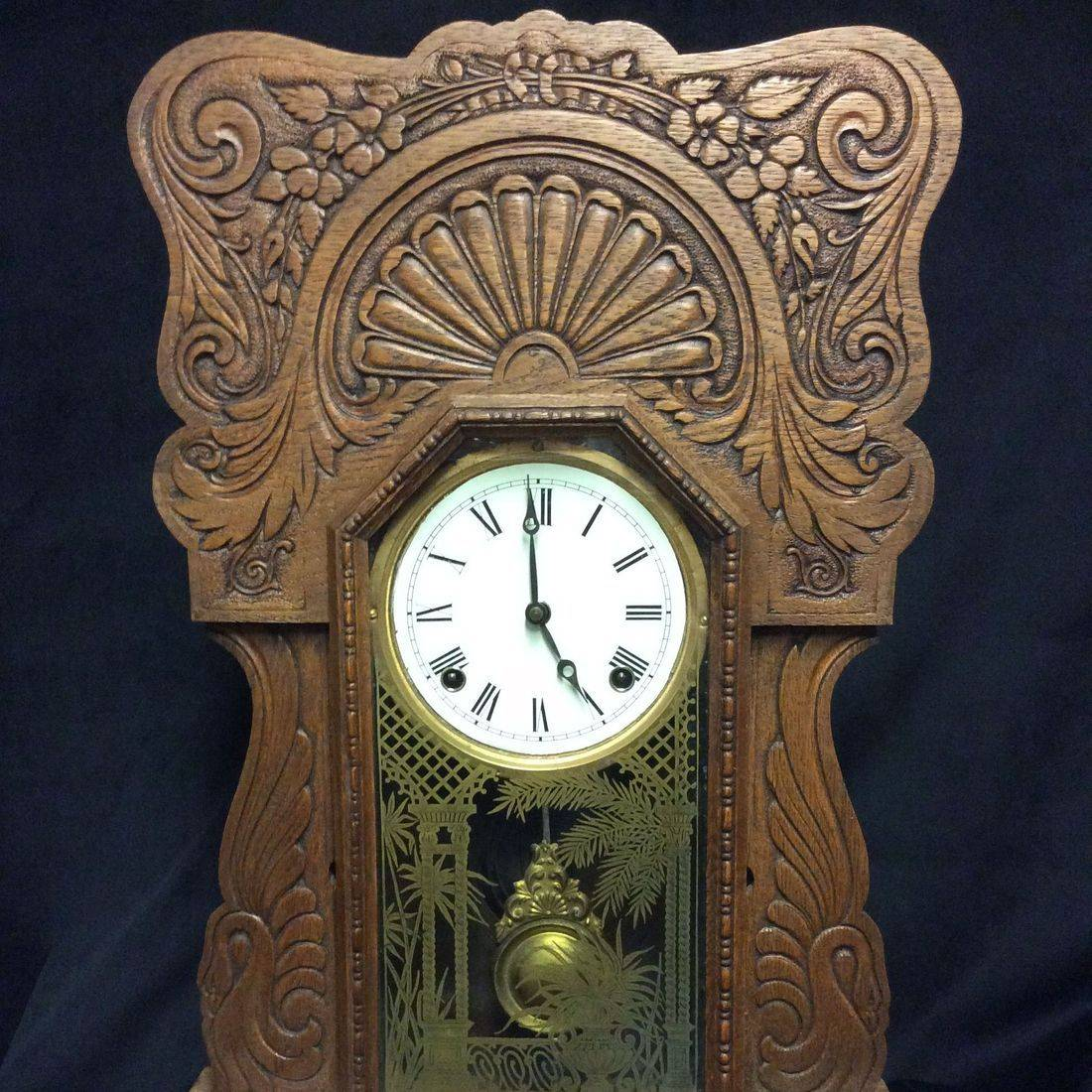 C. 1910 Sessions Oak Gingerbread Clock