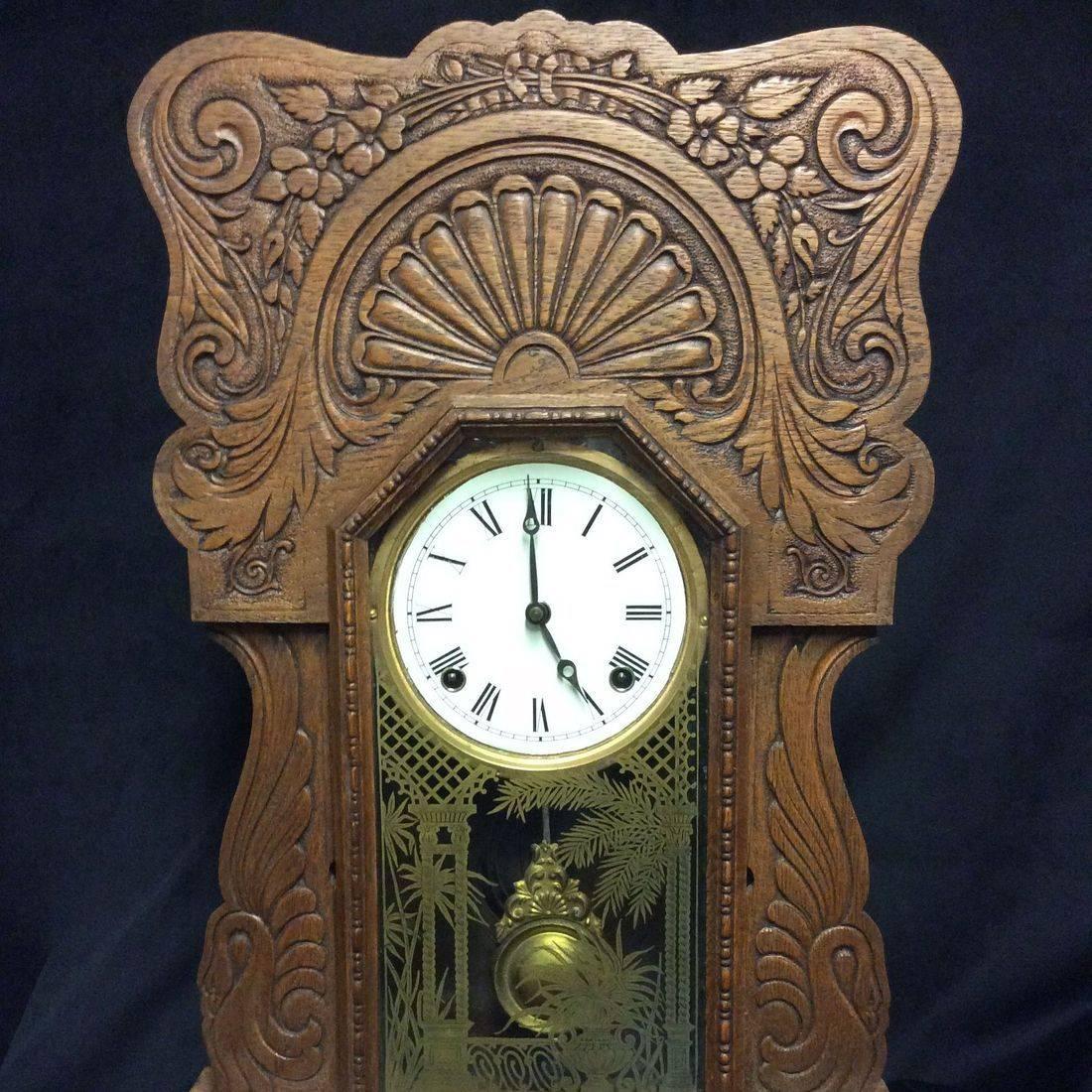 C. 1910 Sessions Oak Gingerbread Clock