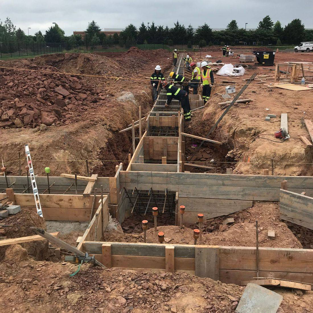 concrete footings being formed