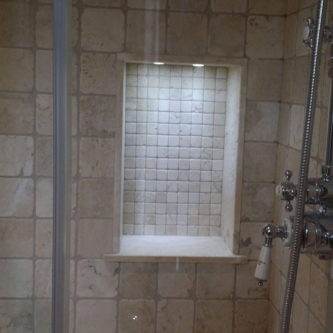 shower tiled niche,bathroom renovation,tiles,tiler,fitting,tiling,mosaic,
