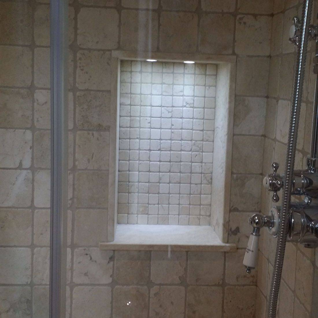 shower tiled niche,bathroom renovation,tiles,tiler,fitting,tiling,mosaic,