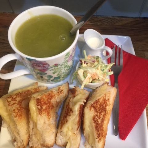 Homemade organic, gluten free and vegan soup, served with a toasted sandwich
