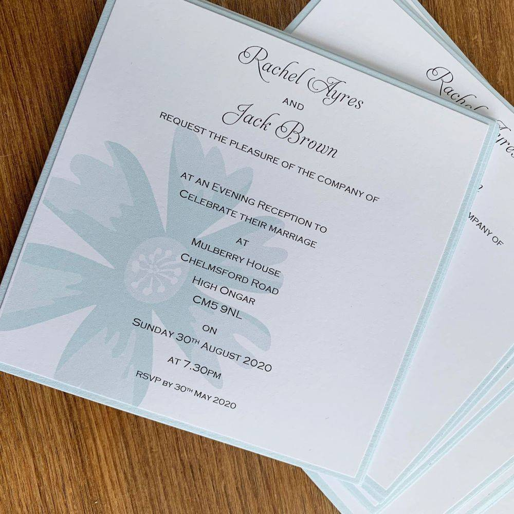 Pale blue and white evening wedding invitation