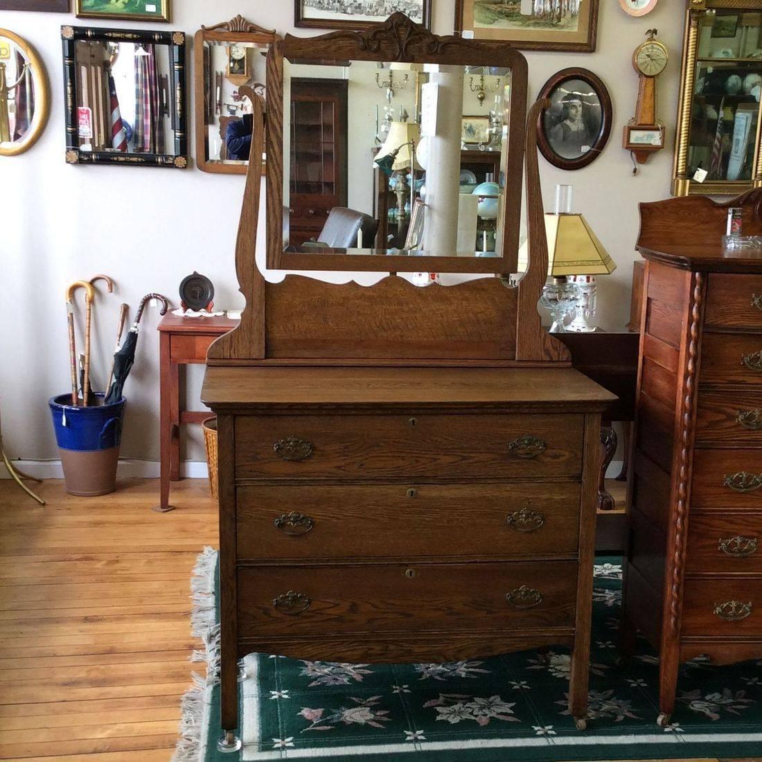 "Early 1900's  3-Drawer Oak Dresser w/Mirror  40""W x 20""D x 35""H  ( mirror Hgt. 71"" )   $275.00"