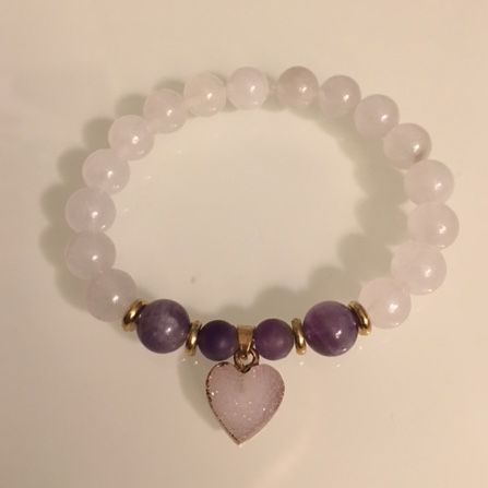 Positively Stoned: Amethyst, Jade, Quartz Druzy heart charm