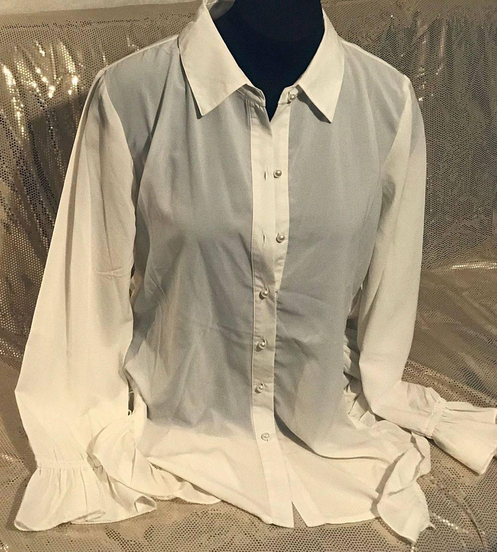 Ivory ruffle long sleeve blouse