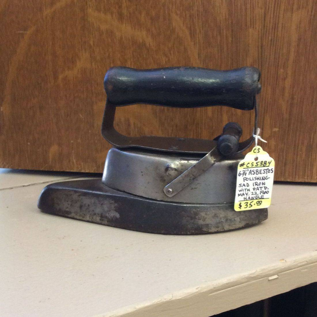 "Pat. 1900  Asbestos 6-3/4""L  Polishing Sad Iron   $35.00"