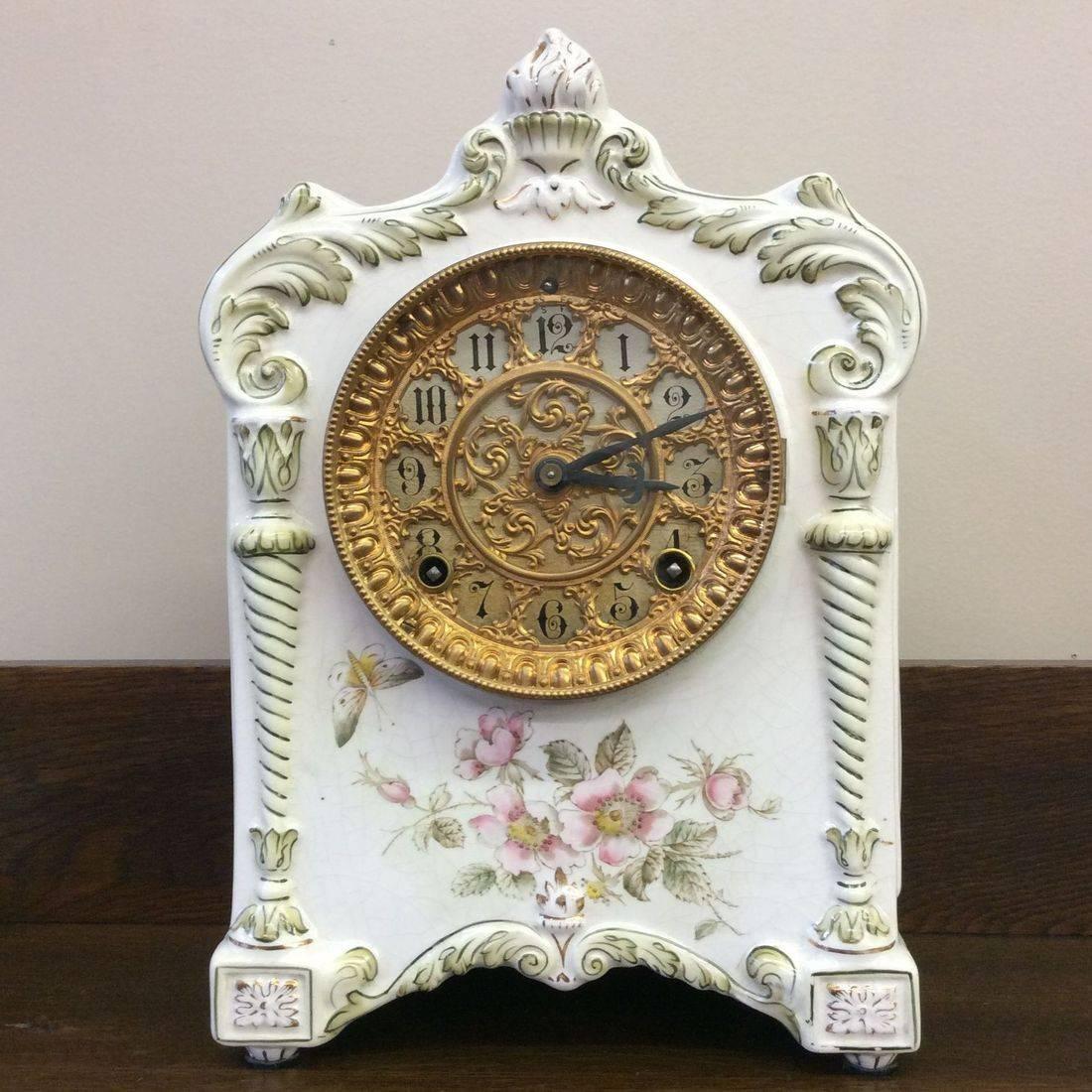 "Pat. June 18, 1882 Ansonia Clock Co.  "" Working "" Porcelain Mantle Clock  8-1/2"" x 5"" x 12""H. Excellent Condition   $300.00"