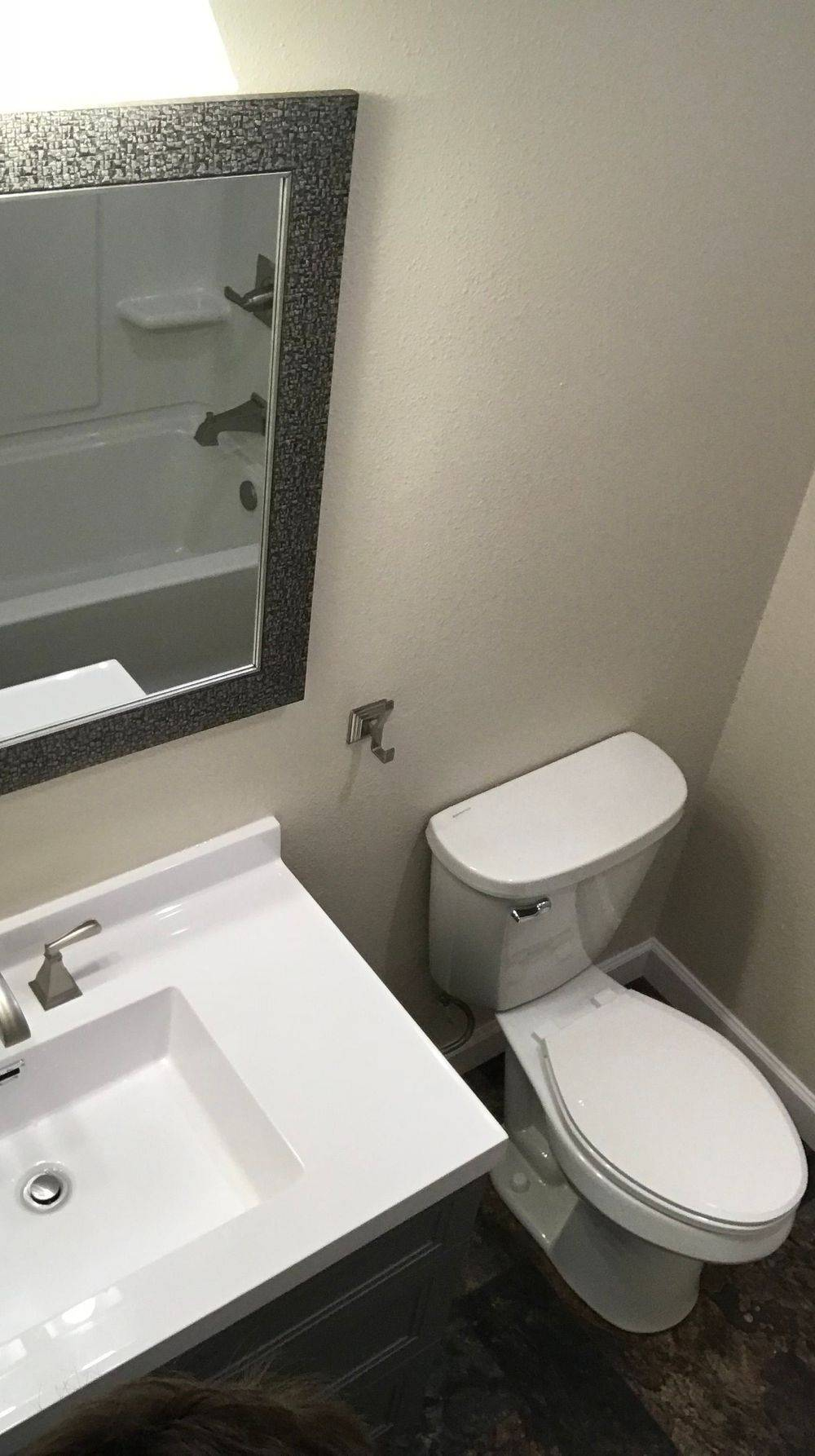 Toilet, vanity, mirror, towel hook