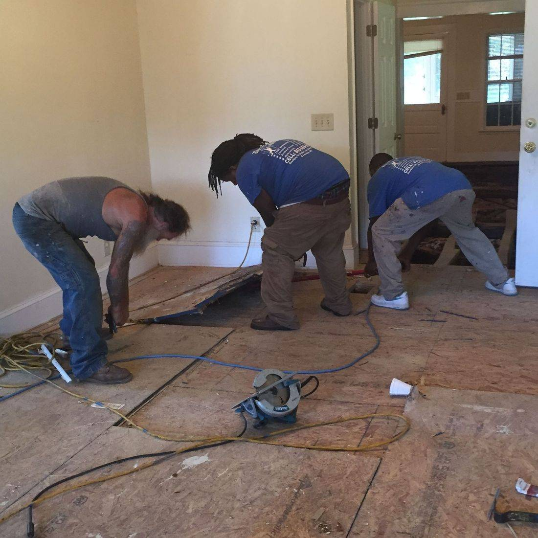Home Remodeling Team Working on the Interior of a Home