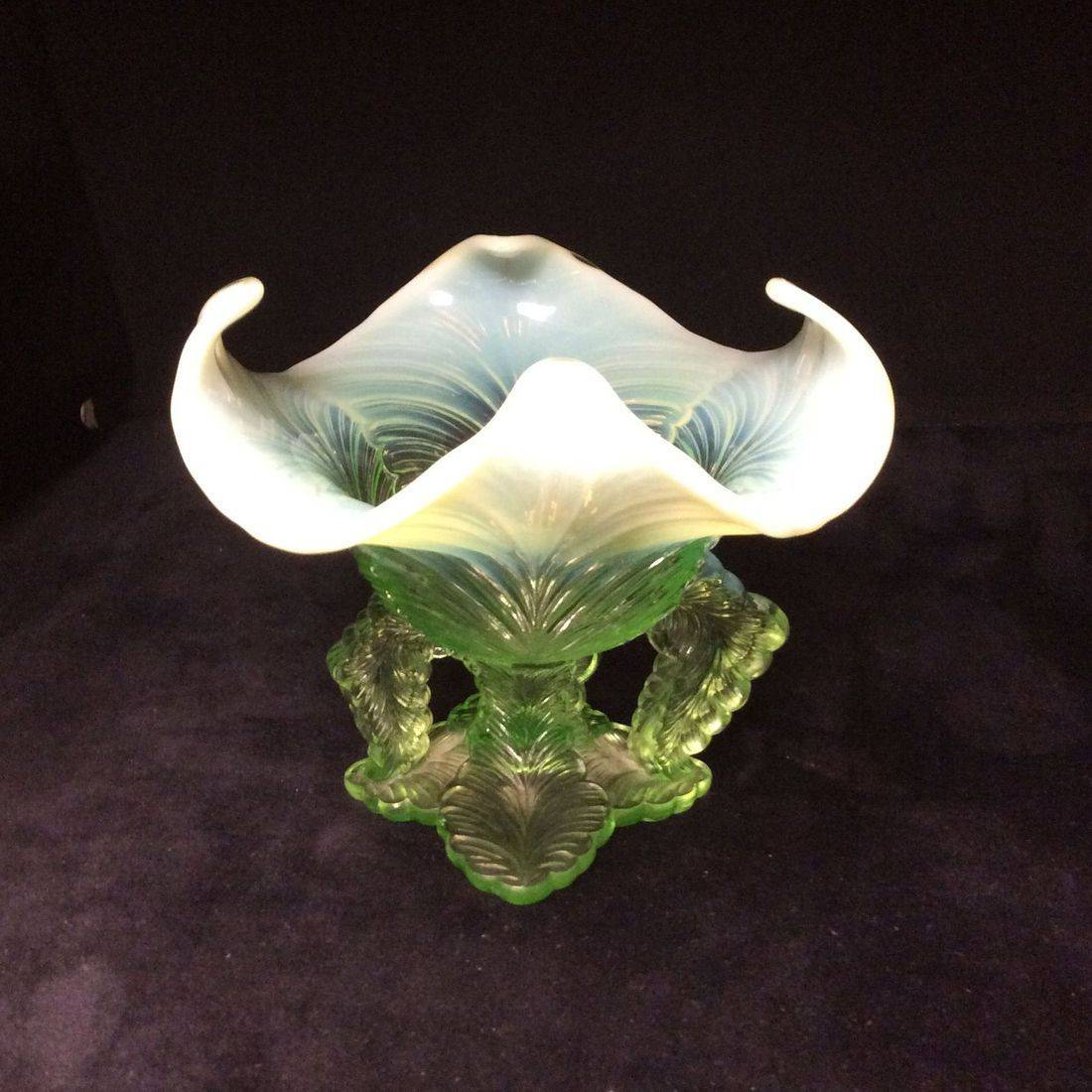 "C. 1903 Northwood Green Opalescent Vase Leaf Chalice Pattern  5"" H x 5-1/2"" Dia.   $45.00"