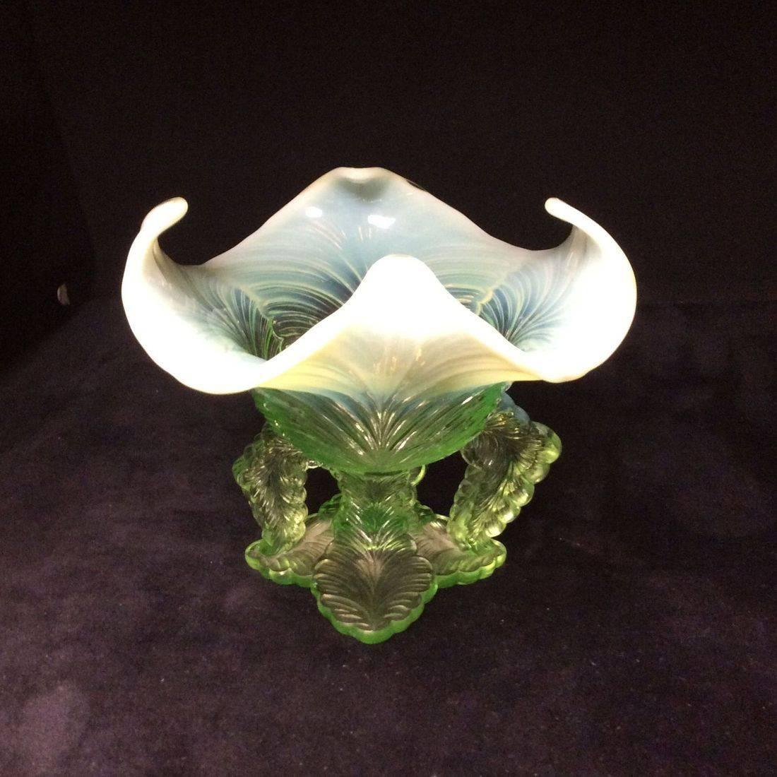 "C. 1903 Northwood Green Opalescent Vase Leaf Chalice Pattern  5"" H x 5-1/2"" Dia.   $45.00"