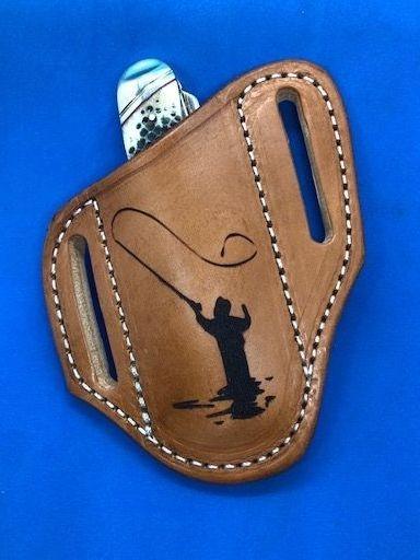 cowhide sheath ,fly fisherman , trout fisherman , leather knife sheaths , pancake cowhide , trapper sheaths , stockman sheath ,