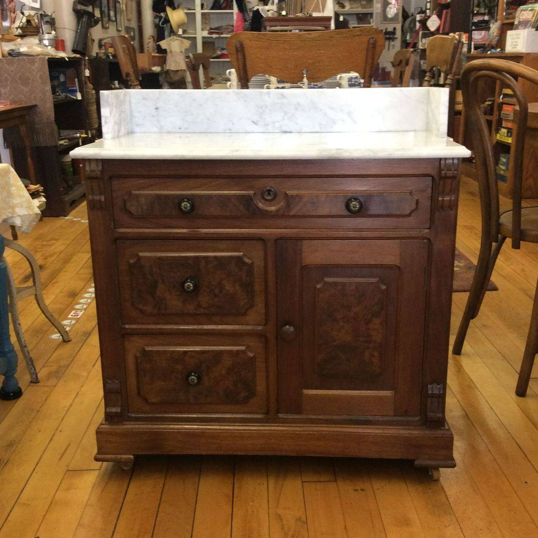 """Mid to Late 1800's F & Sons, Wheeling, W. VA, Marble-Top 3- Drawer, 1-Door Chestnut Commode  30""""W x 16-1/2""""D x 28-1/2""""H (32-1/2""""H to Top of Backsplash   $275.00"""