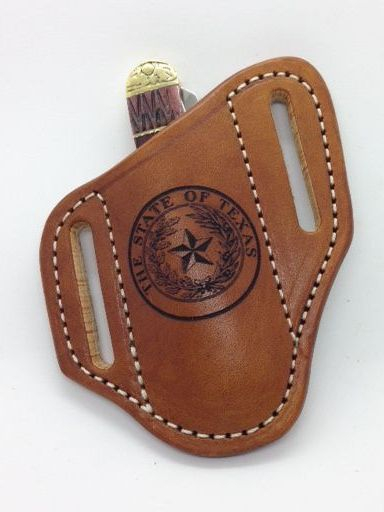 Texas seal , laser engraved , trapper knfe sheath