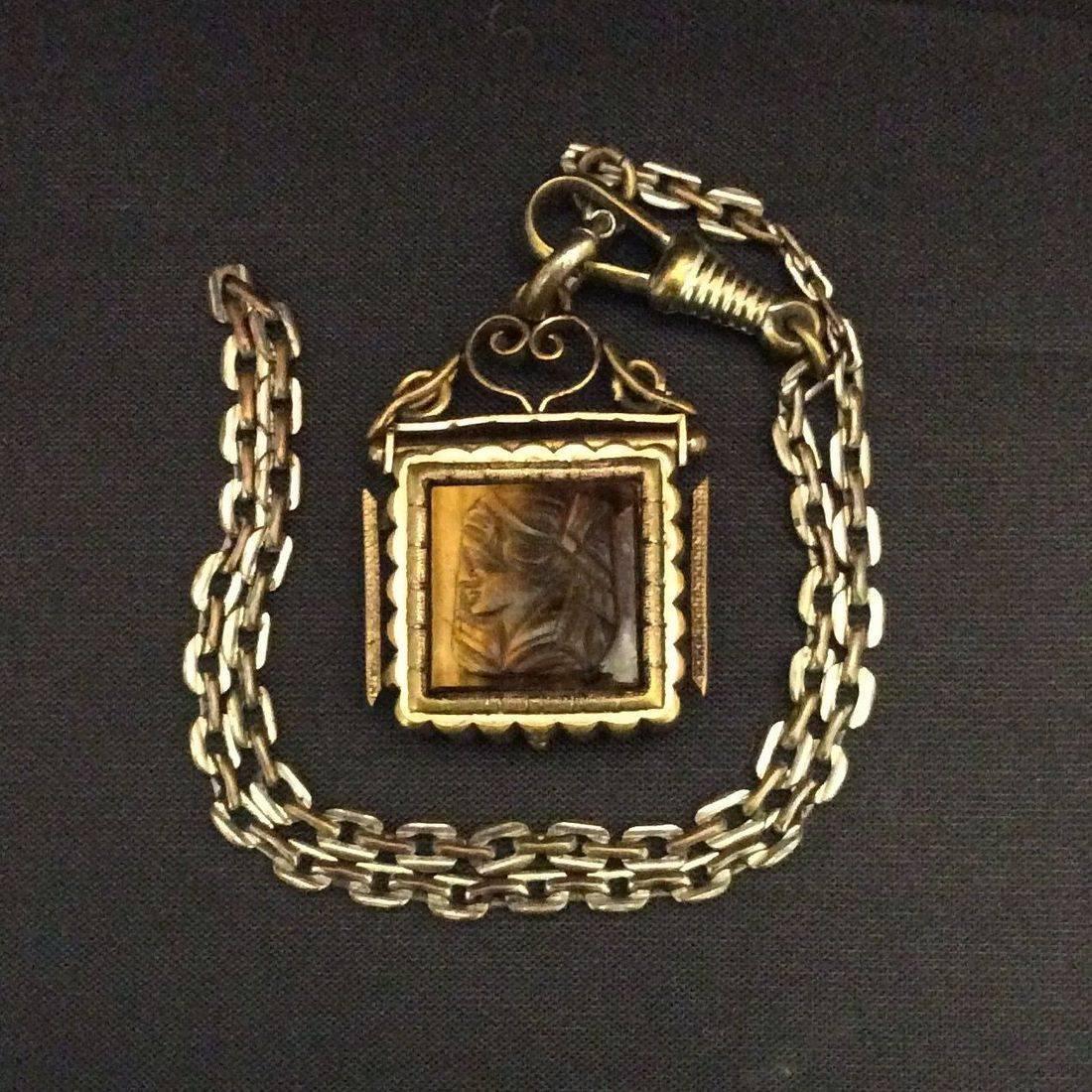 Victorian Watch Fob Locket, Tiger Eye Cameo w/ Bloodstone on Rear  $95.00