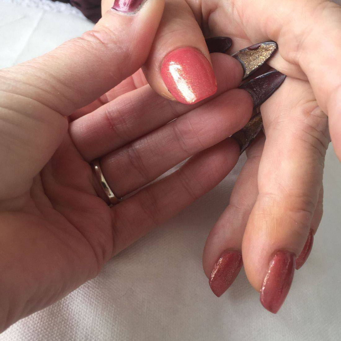 Nails done after attending sculptured nails course