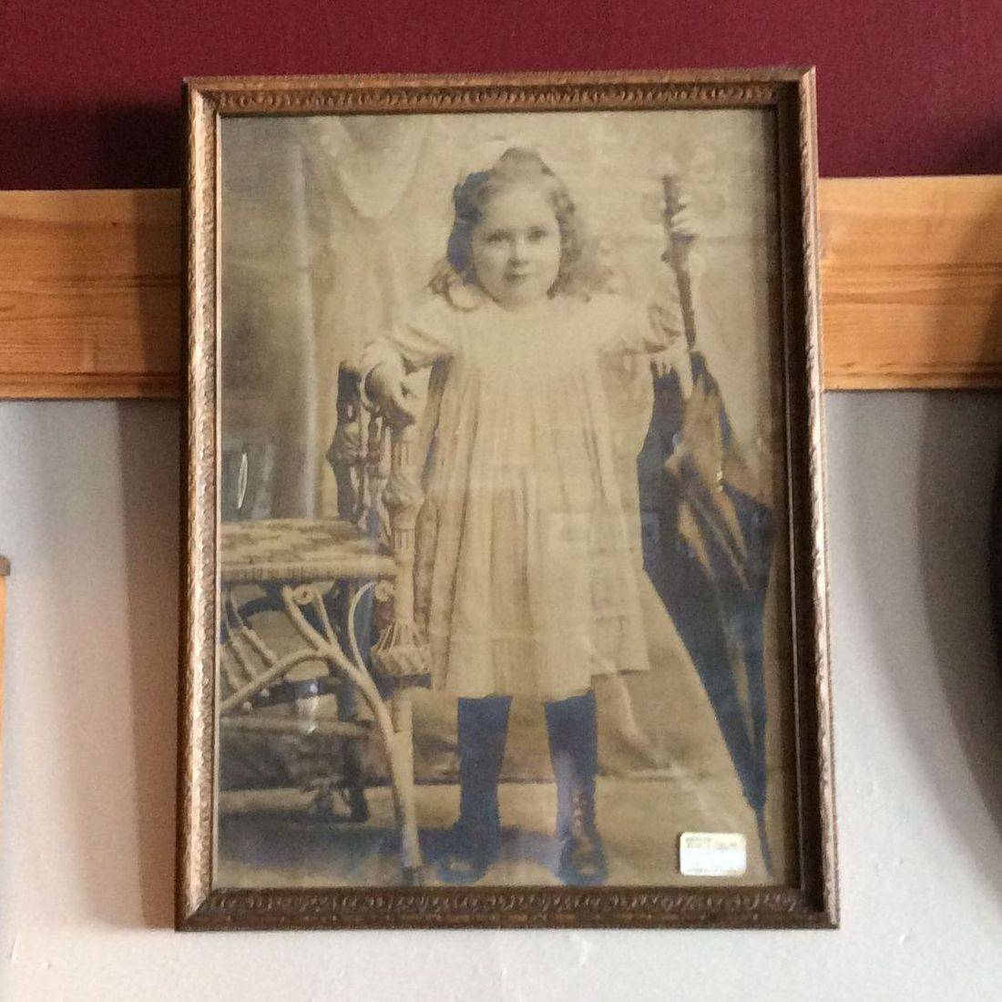 "Early 1900's Picture of Young Girl w/Umbrella  15-1/2"" x 20-1/2"" Frame   $35.00"