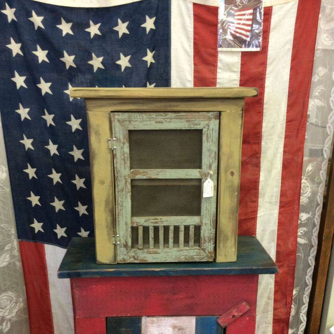 "Primitive Style Small Jelly Cupboard  15""W x 7-1/4""D x 15-3/4""H.  $25.00"