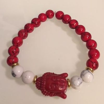 Positively Stoned: Red and White Turqouise, Red resin buddha charm