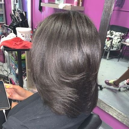 Silk Press, Shiny Hair, Bouncy Hair Blow Out