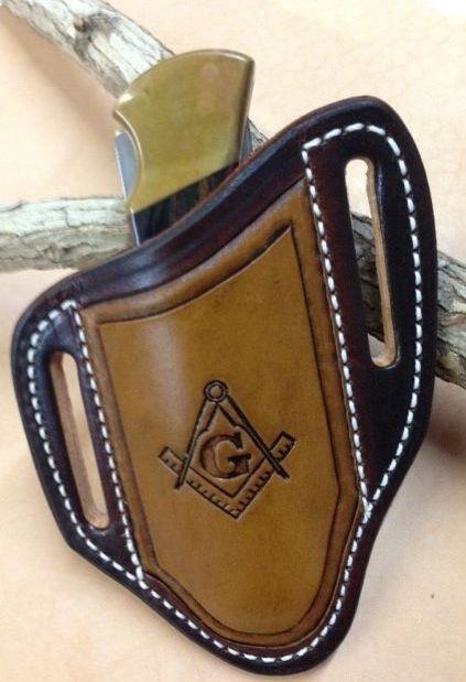 buck 110 sheath , masonic tooled , pancake style , custom tooled ,