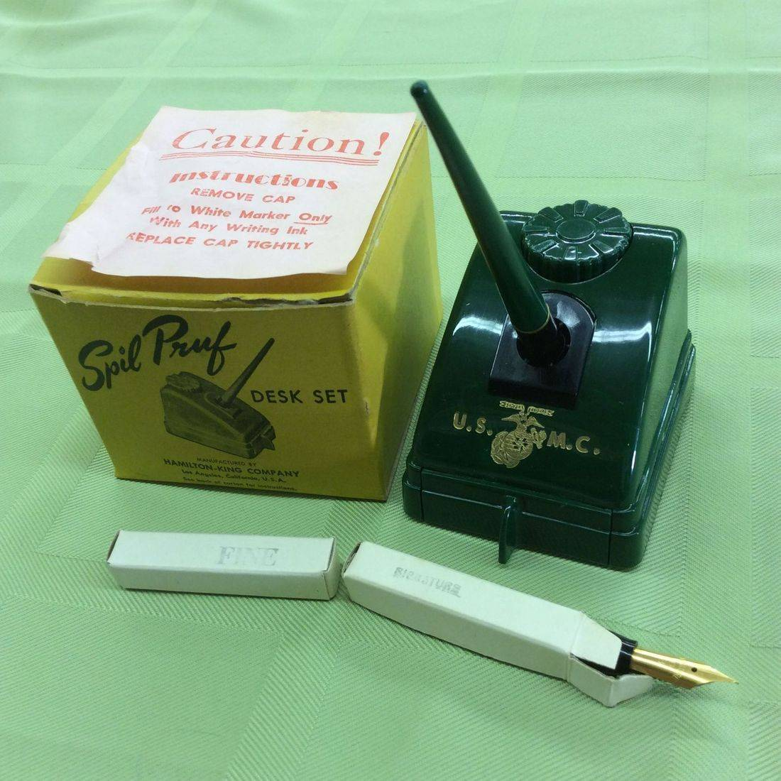 1940's/50's Spil Pruf U.S.M.C. Pen Holder Desk Set w/ Original Box & Nibs, Hamilton-King Co.   $55.00