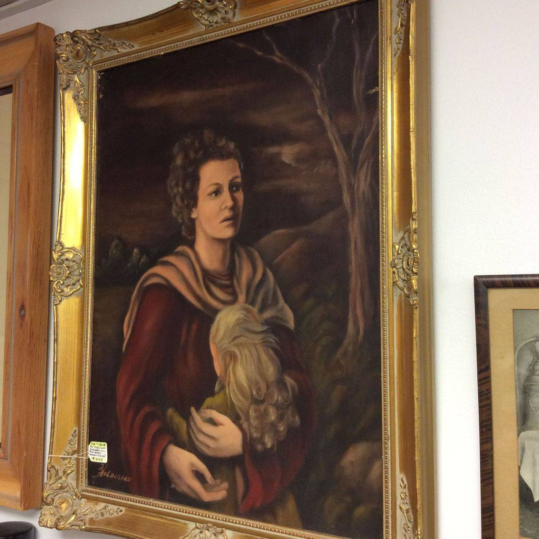 "Est. 1950's/60's Hildegard Oil on Board ""Woman With Child""   $150.00"