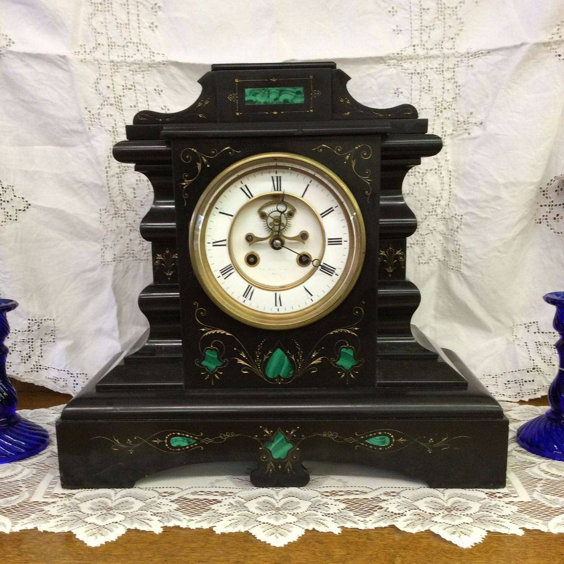 """C. 1880's Samuel Marti  8-Day  """"Working""""  French Marble Mantle Clock  15""""W x 6-1/2""""D x 14""""H.  $350.00"""