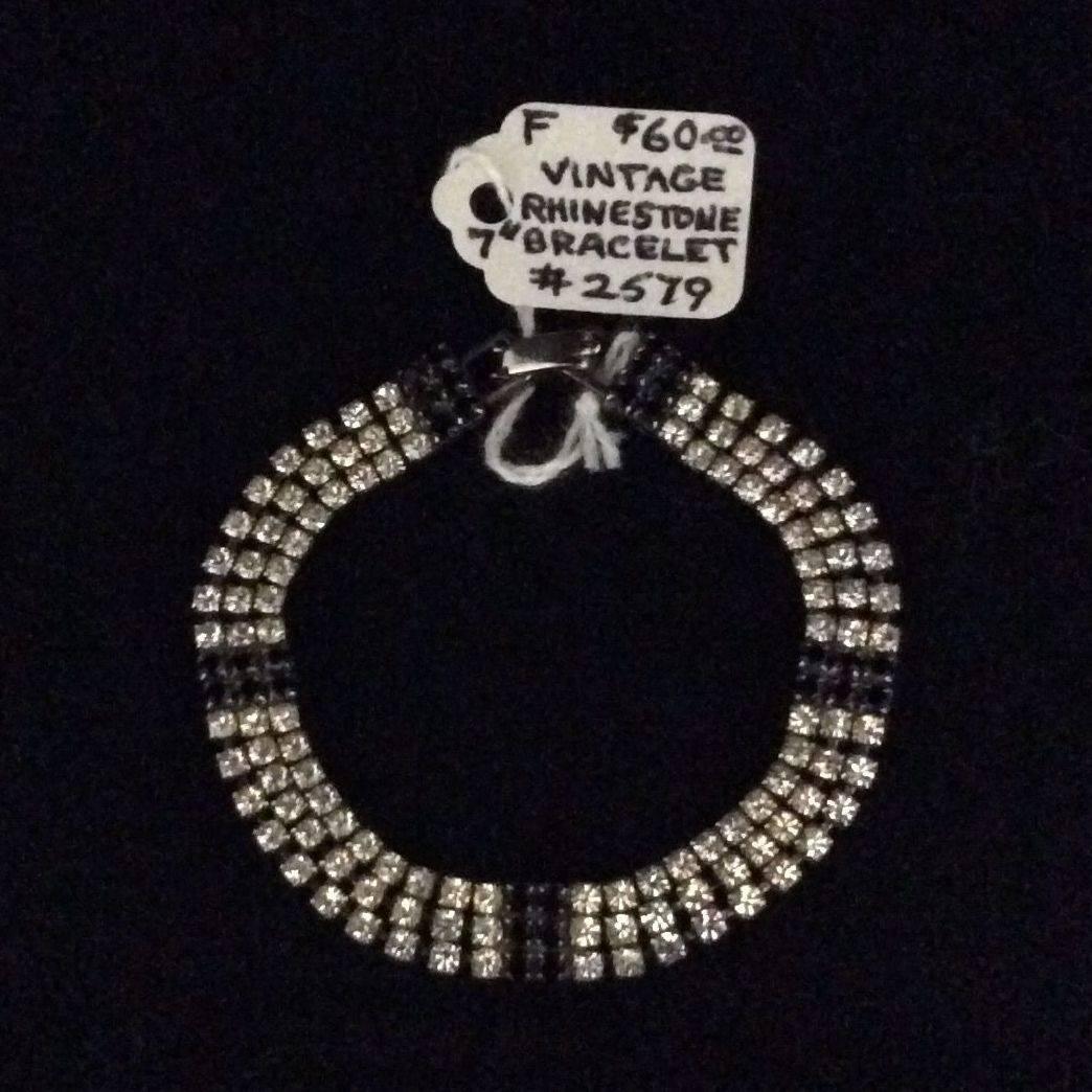 "Vintage 7"", Rhinestone and Oynx Bracelet  $60.00"