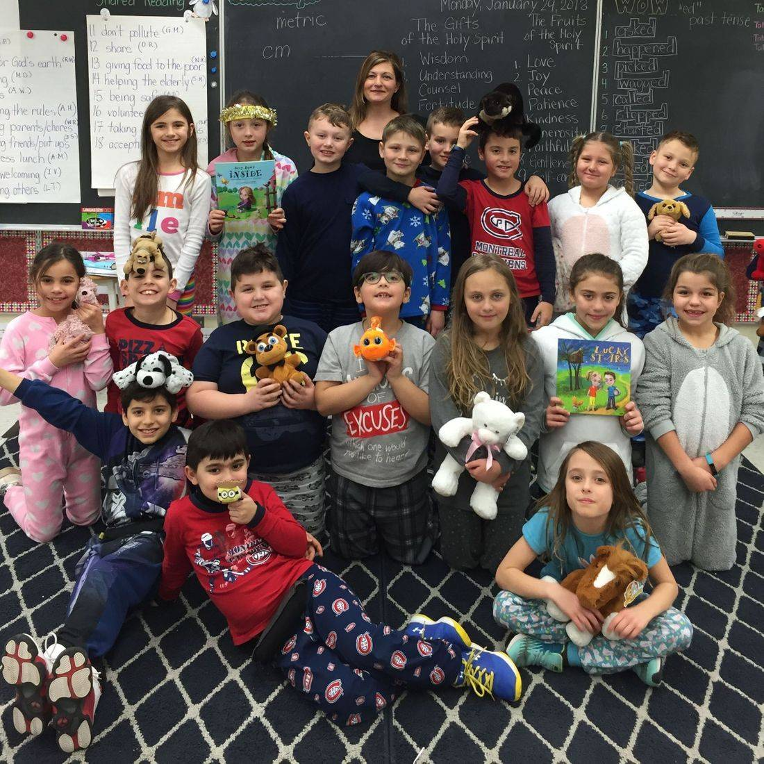 Snuggle Up and Read Day January 29, 2018 with grade 3 students and Author Daniella Grsic with her books Deep Down Inside and Lucky Stars